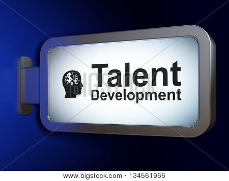 Studying concept: Talent Development and Head With Finance Symbol on advertising billboard background, 3D rendering