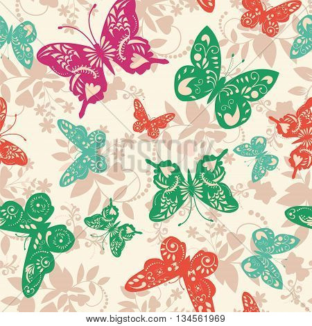 Abstract exotic seamless pattern with butterflies vector illustration