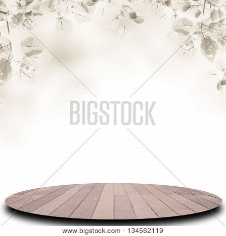 Empty top of old wood floor on abstract background with defocused of tree For product display