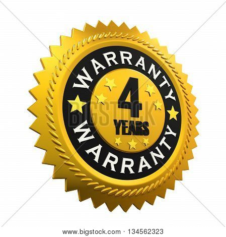 4 Years Warranty Sign isolated on white background. 3D render