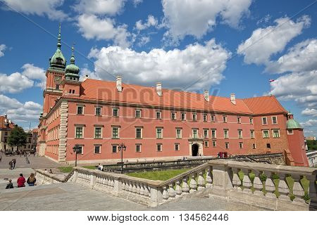 Warsaw, Poland - June 11: The Royal Castle in the Castle Square, at the entrance to the Warsaw Old Town on June 11, 2016 in Warsaw, Poland