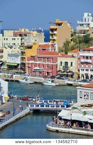 CRETE AGIOS NIKOLAOS - AUGUST 09: town of Agios Nikolaos Crete Greece on 09 August 2014. Agios Nikolaos is one of the most popular tourism destinations in East Region of Crete island.