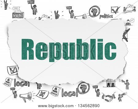 Politics concept: Painted green text Republic on Torn Paper background with  Hand Drawn Politics Icons