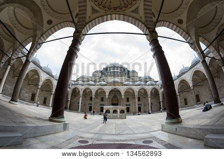 ISTANBUL TURKEY - JUNE 19 2015: The yard of Suleymaniye Mosque Ottoman imperial mosque located in Istanbul Turkey. It is the largest mosque in the city and one of the best-known sights of Istanbul