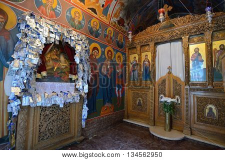CRETE RETHYMNO - AUGUST 09: Interior of Greek Orthodox church in Rethymno Crete Greece on 09 August 2014. Rethymno is the third largest city in Crete and the capital of regional unit.