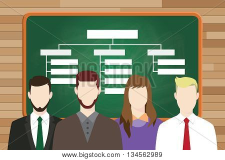organization structure write on board with team people on front of line up vector graphic illustration