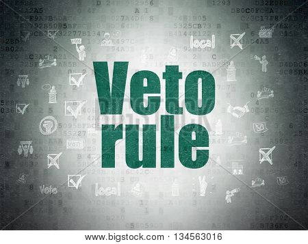 Political concept: Painted green text Veto Rule on Digital Data Paper background with  Hand Drawn Politics Icons