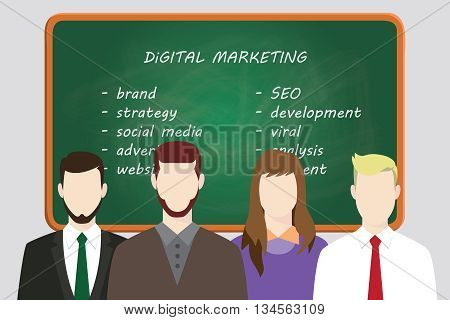 digital marketing team line up work on front of board with text vector graphic illustration