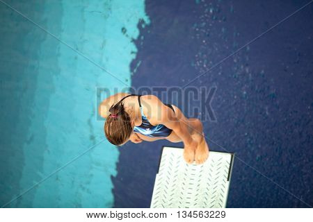 Save Download Preview Lady springboard diver preparing to dive from the springboard into the swimming pool