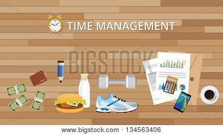 time management with health life food alarm clock and other thins vector graphic illustration