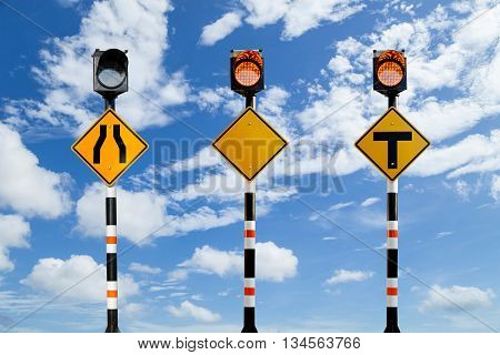 Solar powered traffic signs traffic signs on blue sky background