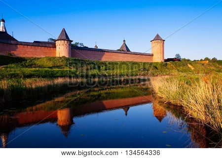 The Wall With Towers Of The Saviour Monastery Of St. Euthymius Is A Monastery In Suzdal. Golden Ring