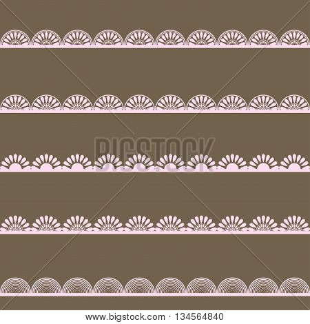 Set of pink lace borders ornamental paper lines