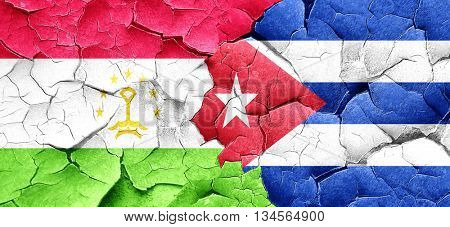 Tajikistan flag with cuba flag on a grunge cracked wall