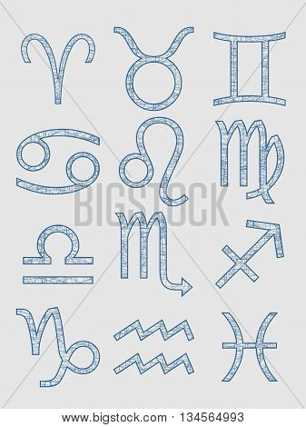 Astrological symbols. Pen stroke painting. Vector illustration