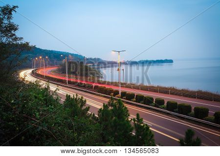 Evening Night View Of  The Lake Bending Highway