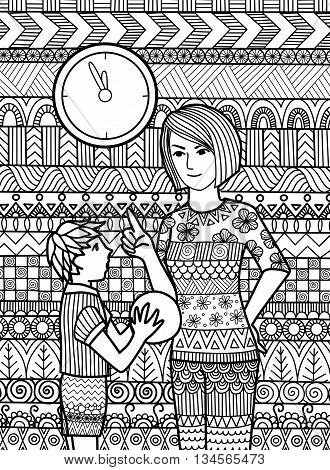 Mother telling son to not play at the wrong time doodle design for adult coloring