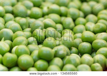Macro of a group of natural green peas