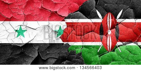 Syria flag with Kenya flag on a grunge cracked wall