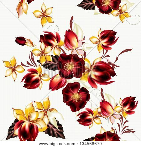 Seamless graphic vector pattern with decorative flowers