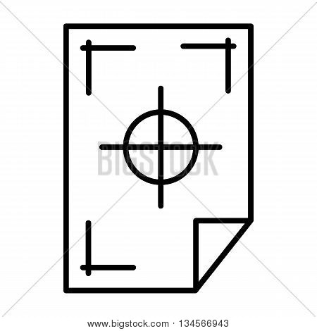 Printer marks on a paper icon in outline style isolated on white background