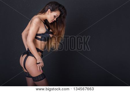 Sensual Brunette Woman In Lingerie.