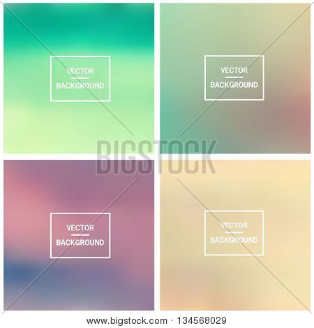Abstract gradient set colorful blurred vector backgrounds. Vector blur background template.