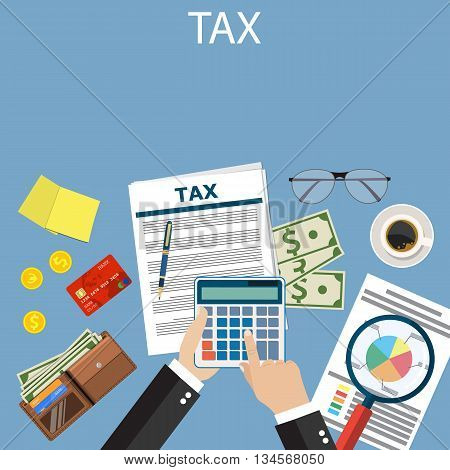 Tax payment. Government taxes. State taxes. Data analysis, paperwork, financial research report Businessman calculation tax. Calculation of tax return. Flat design. Tax form vector. Payment of debt.