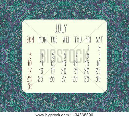 July 2016 Monthly Calendar