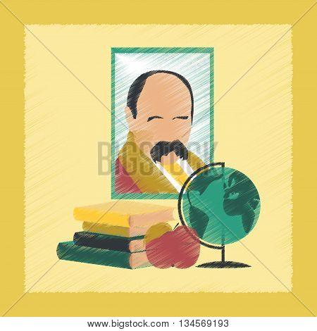 flat shading style icon school Ukrainian literature lesson