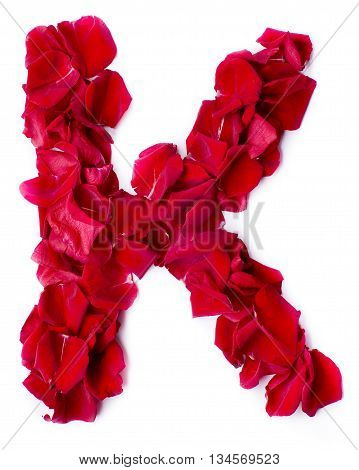 Alphabet K Made From Red Rose