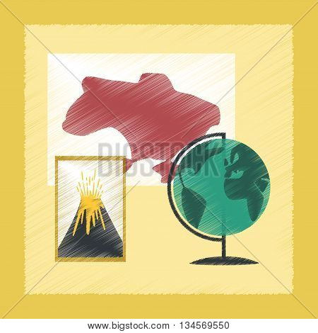 flat shading style icon school subjects of study geography