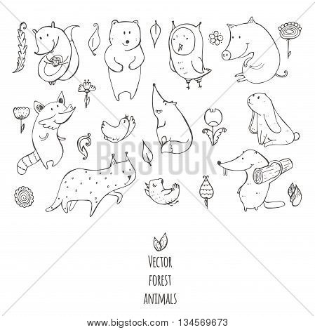 Vector illustration with cute and naive forest animals. Hand drawn black and white set decorated with flowers and birds isolated on white. Bear fox raccoon squirrel owl beaver lynx bunny pig