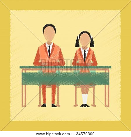 flat shading style icon school pupils at school desk