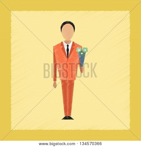flat shading style icon Cartoon schoolboy flowers