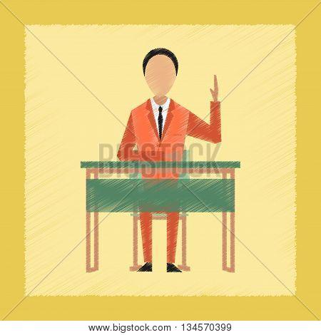 flat shading style icon school pupil at school desk