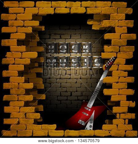 Vector illustration of an old brick wall with a breakthrough rock guitar and the words rock music. Can be used with any image or text on a black background.