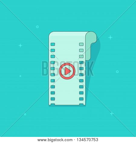 Video icon vector illustration isolated on blue color background, flat cartoon video filmstrip with red play button outline line art
