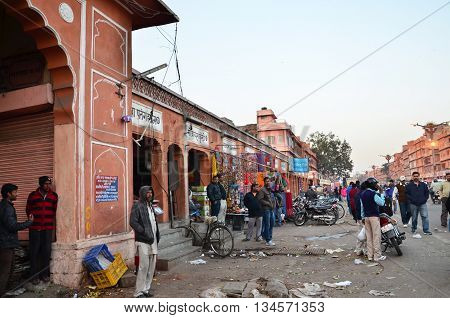 Jaipur India - December 29 2014: People visit Streets of Indra Bazar in Jaipur Rajasthan in India as seen on December 29 2014. Jaipur known as the Pink City is a major tourist destination in India.