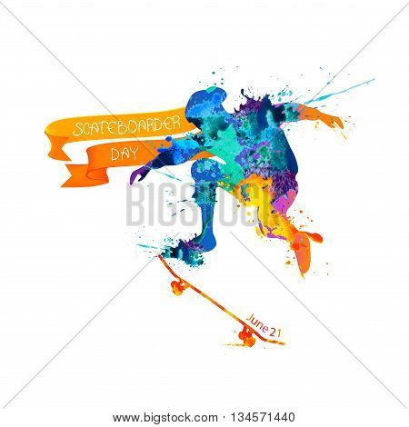 Holiday. June 21 - skateboarder day. Vector splash paint