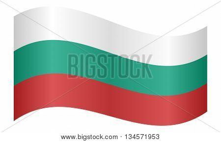 Flag of Bulgaria waving on white background