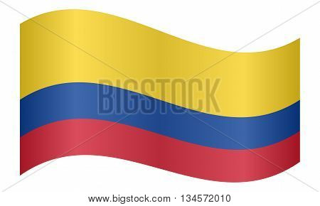 Flag of Colombia waving on white background