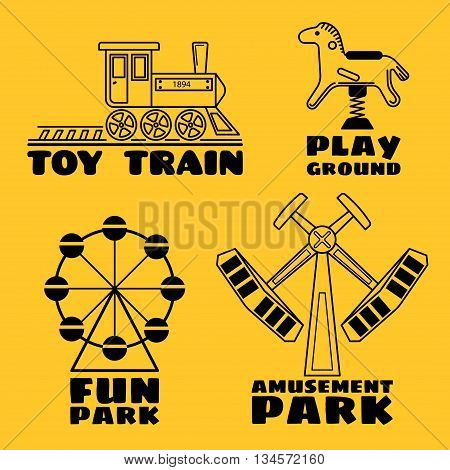 Four logo in line style on a yellow background. Toy train playground fun park and amusement park. Vector icon set.