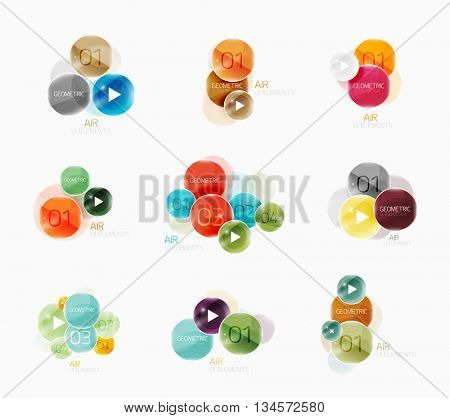Collection of circle web boxes. Vector illustration