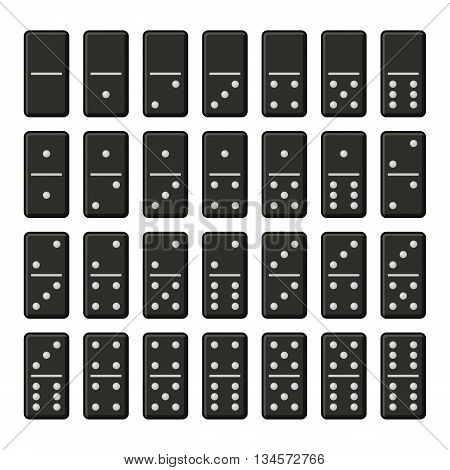 Black Domino Bones Complete Set on White Background. Vector illustration
