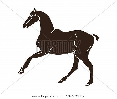 Graphic image of a galloping horse. Brown silhouette horse on white background. Vector illustration