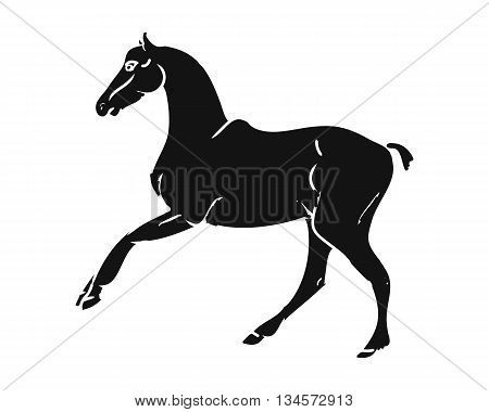 Graphic image of a galloping horse. Black outline horse on a white background. Vector illustration