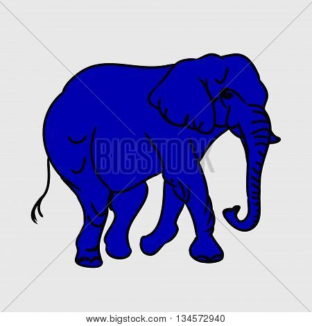Graphic image large elephant. Painting an elephant blue. The outline of the animal. Vector illustration