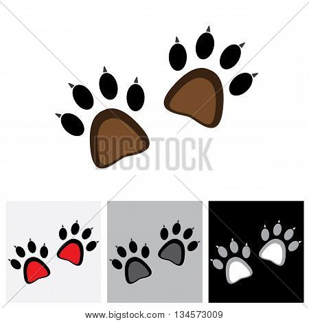 Claw Footprint Pair Of Cat Or Lion Or Tiger Or Cheetah Or Jaguar - Concept Vector Graphic
