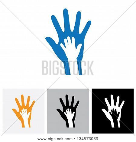 Parent & Child's Hand Together- Concept Vector Graphic